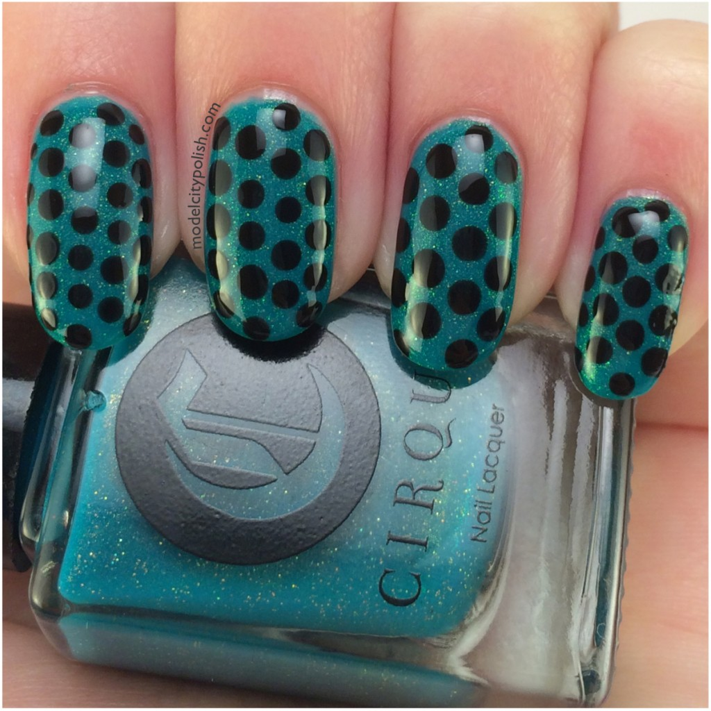 Green & Black Dotticure – #31DC2014 Day 11 Polka Dots