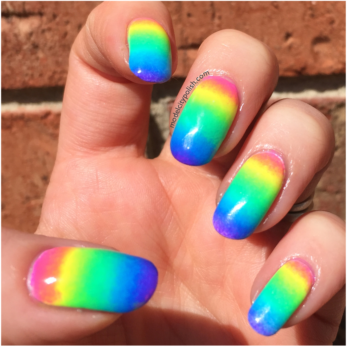 Neon Rainbow with China Glaze