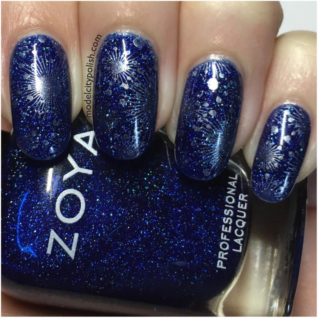 Blue Atomic Nails with Mini Mani Moo