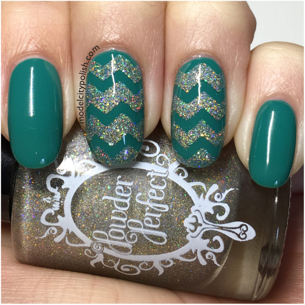Glitter Chevrons with Powder Perfect and Zoya